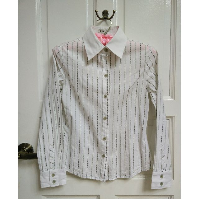 Striped White Long Sleeve Embroidered Shirt XS/S