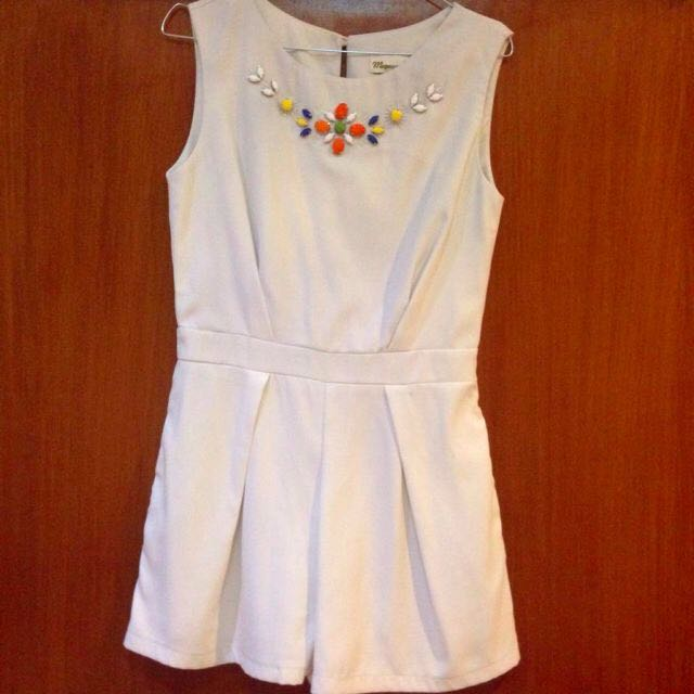 White Jumpsuit with Beads