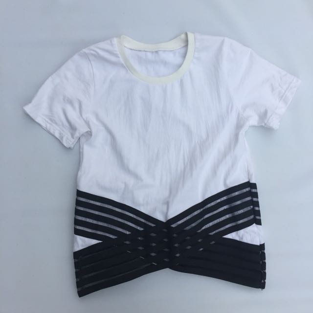 White Shirt With Black Lines