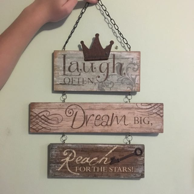 Wooden Sign 'Laugh Often Dream Big Reach For The Stars'