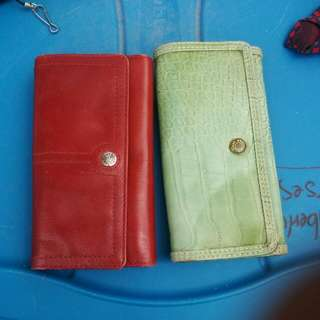 Red Fossils Wallet And Green Tommy Hilfiger Wallet