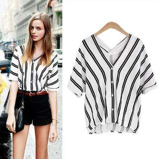 New S/M/L Striped Summer Blouse