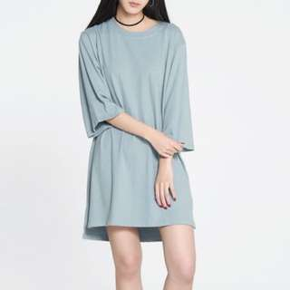 Pomelo Micky Loose Tee Dress in Blue
