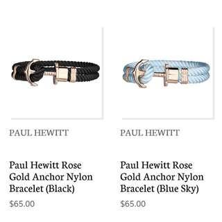 Paul Hewitt Rose Gold Anchor Nylon Bracelet