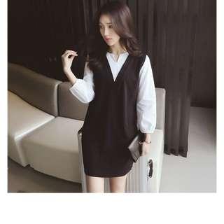 T9268#7178-秋裝大碼時尚-小V領黑白撞色拼接假兩件中長款連衣裙  XL  2XL  3XL 4XL