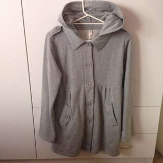 Cotton On Size L Grey Cotton Trench Coat Jacket With Hood