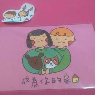 Newayne 明信片 成為你的家 狗 粉紅色 粉色 方格 貼紙