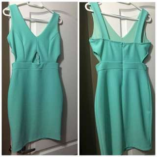 Teal Cocktail Dress W/cutouts