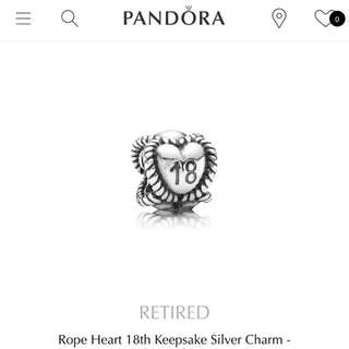 Authentic Pandora Charm '18'