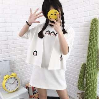 【現貨】小確幸日式和服款防曬原宿風刺繡罩衫/ 小外套(白色)