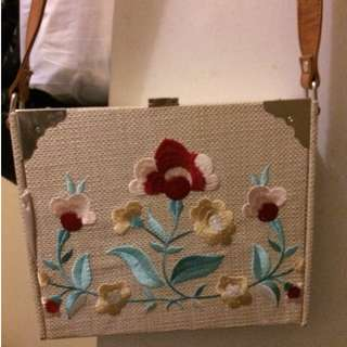 Forever New embroidered box shoulder bag