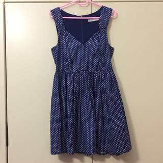 Quirky Circus Navy And White Polkadot Dress