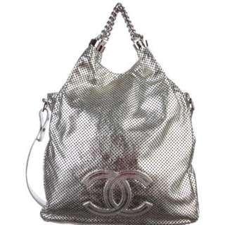 Authentic Chanel Large Silver Colour Bag