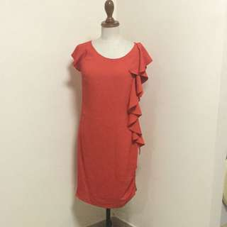 Red BYSI Asymmetric Dress