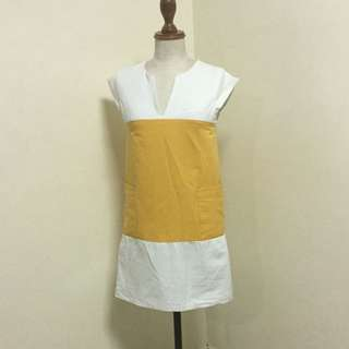 Victoria Beckham Style Cheery Yellow And White Dress