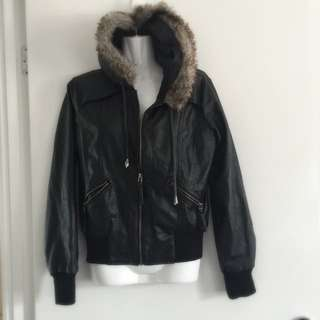 Faux Fur Lined Leather Jacket Size 8