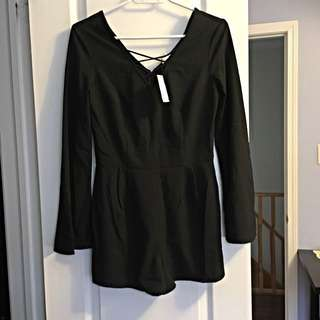 Black Romper, Flared Sleeves