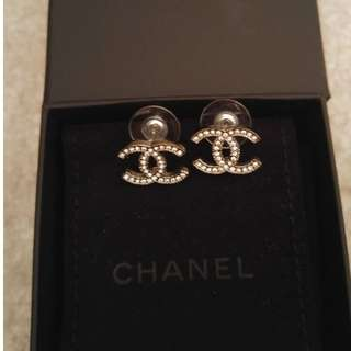 Authentic Chanel CC Earrings in Silver