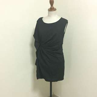 Classic Asymmetric Black Dress With Gathers