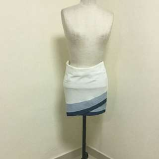 Beautiful Layered Mini Skirt In White And Blue