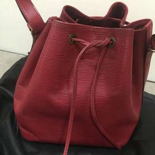 Authentic LV Louis Vuitton red epi Leather drawstring bucket