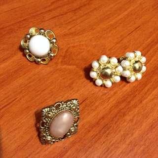 (保留)復古寶石花朵夾式耳環