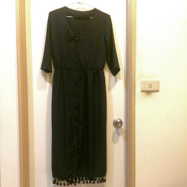 黑色流蘇長洋裝