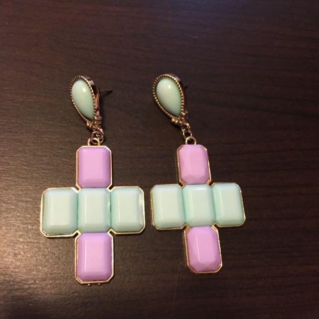 全新十字架穿式耳環