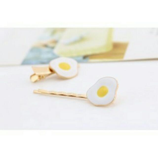 🍒全新韓系一字夾 髮夾 蛋蛋造型 蛋黃 荷包蛋髮夾