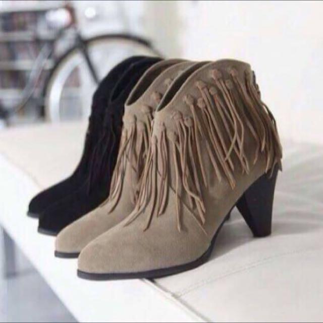 原價1800🙌 正韓 麂皮流蘇靴 踝靴裸靴低跟靴 尖頭靴 卡其 咖啡 早秋