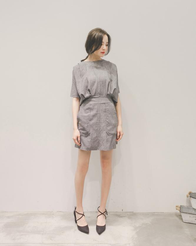 AJPEACE-直條後排釦洋裝