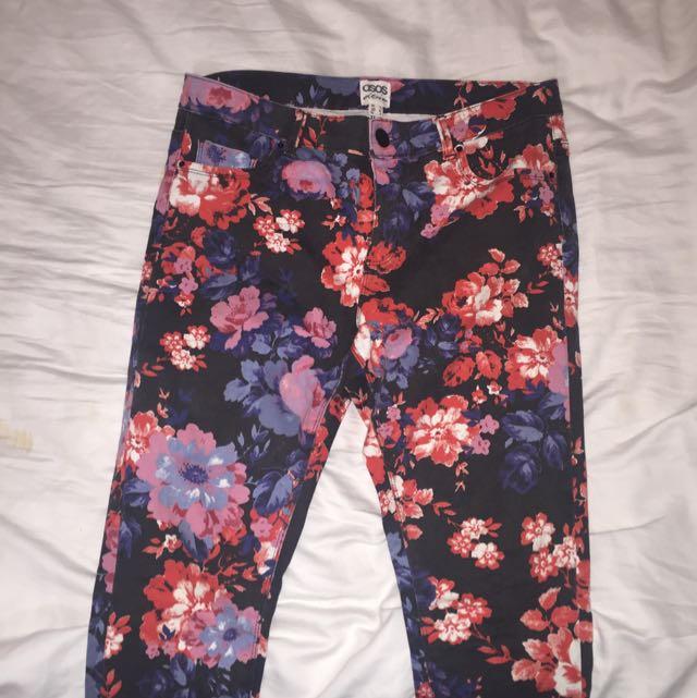 ASOS Black Floral Skinny Jeans