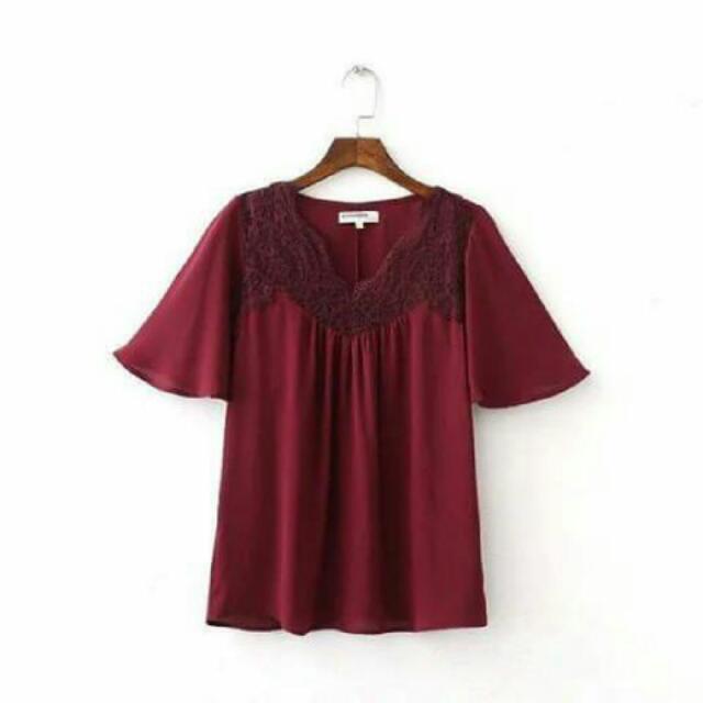 Bahan chifon+ lace...ld 108cm.. New