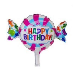 Balon foil happy birthday candy