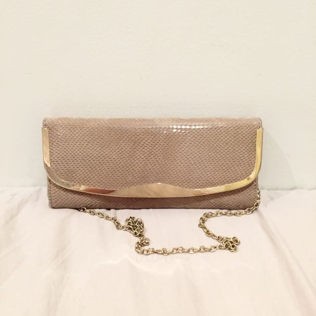 Beige Snakeskin Clutch Wallet With Gold Detailing ALDO