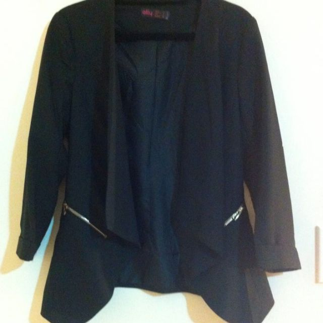 Black blazer with waterfall neckline