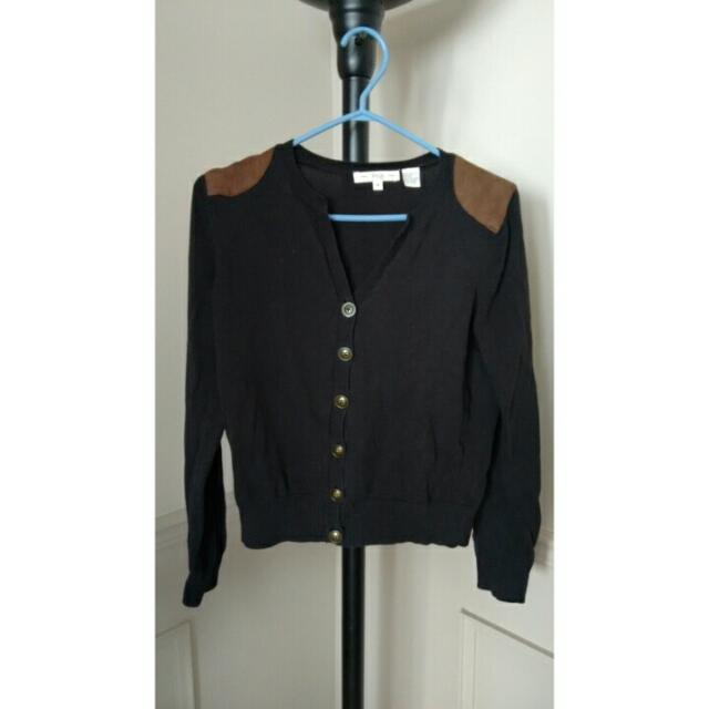 Black Cardigan With Suede Shoulders