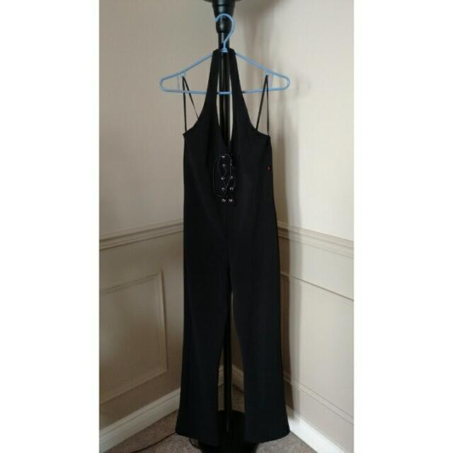 Black Halter Pantsuit With Tie Up