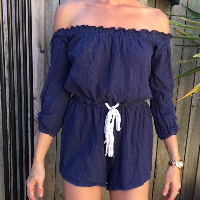 Blue With White Rope Playsuit