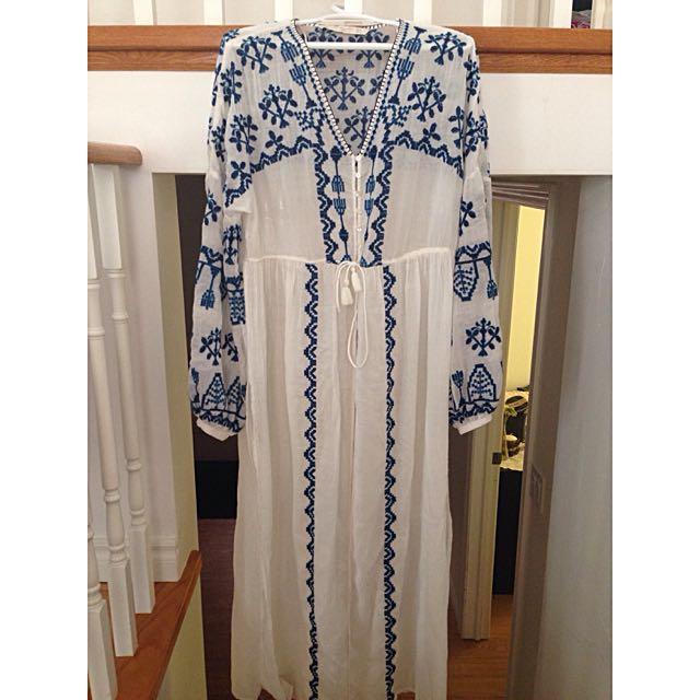 Boho White Maxi Dress with Blue Embroidery