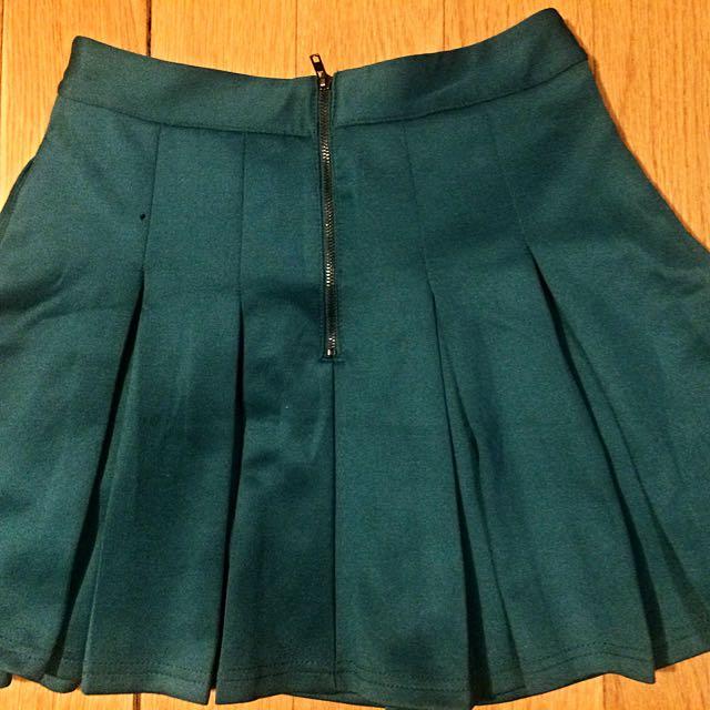 Emerald Green Pleated Skirt