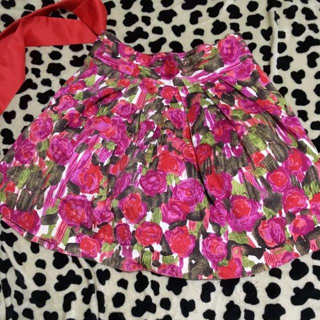 Forever 21 High Waisted Floral Skirt