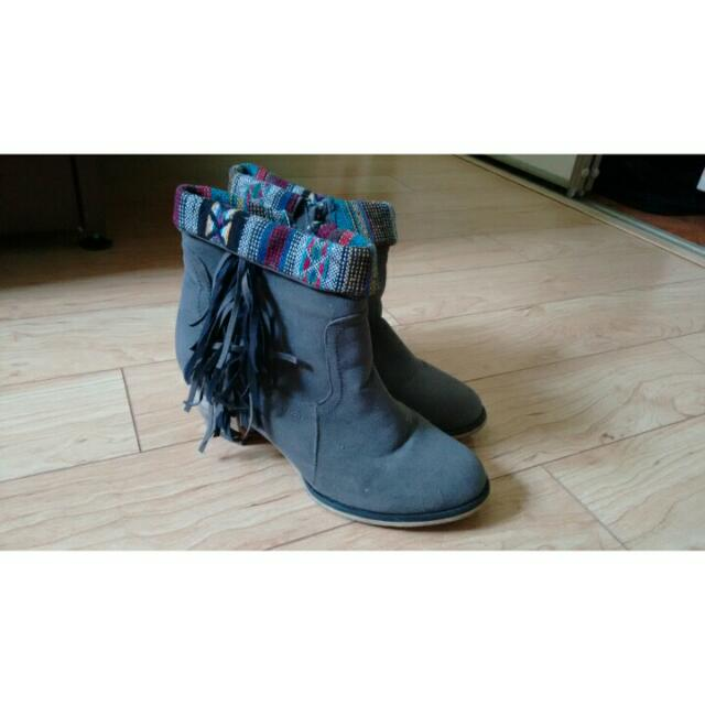 Grey Fringed Booties