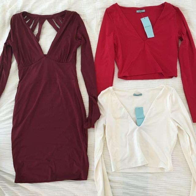 Kookai Long Sleeve Dress And 2x Long Sleeve Crop Tops