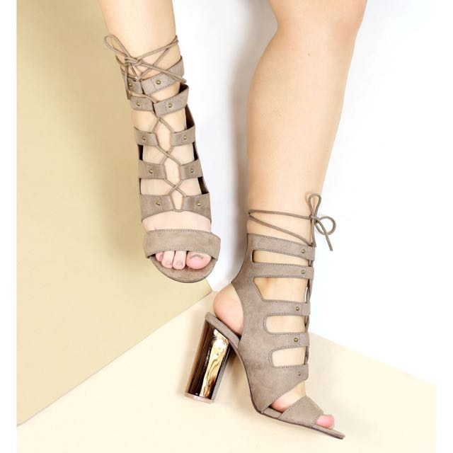 New Lace up blocked heels