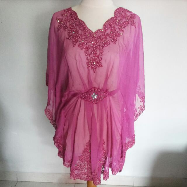 Pink Magenta Diamante Blouse / Kaftan / Top