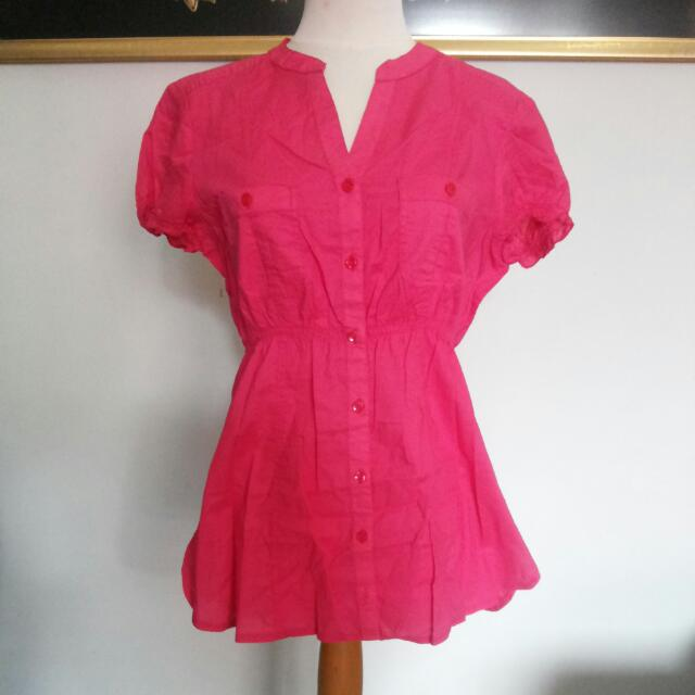 Pink Pocket Blouse / Top / Shirt