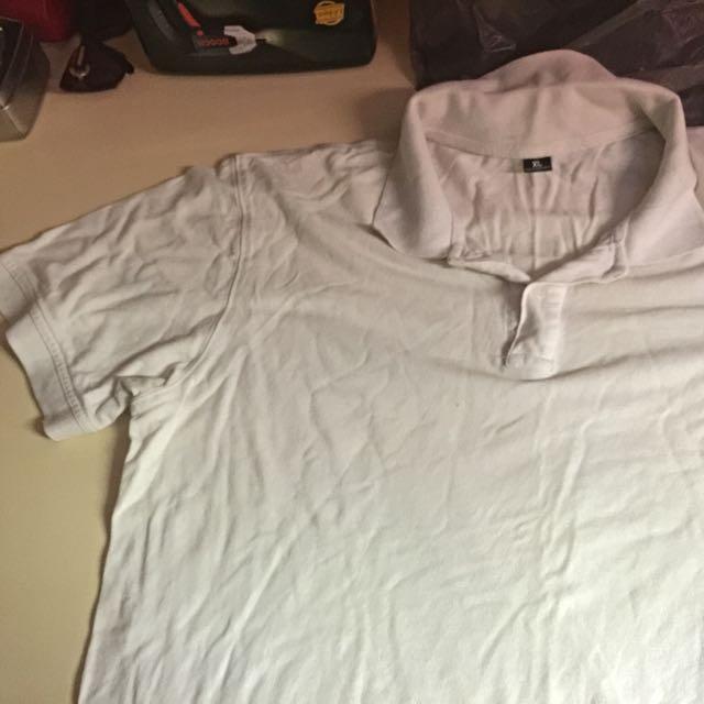 Plain White Collar T Shirt XL