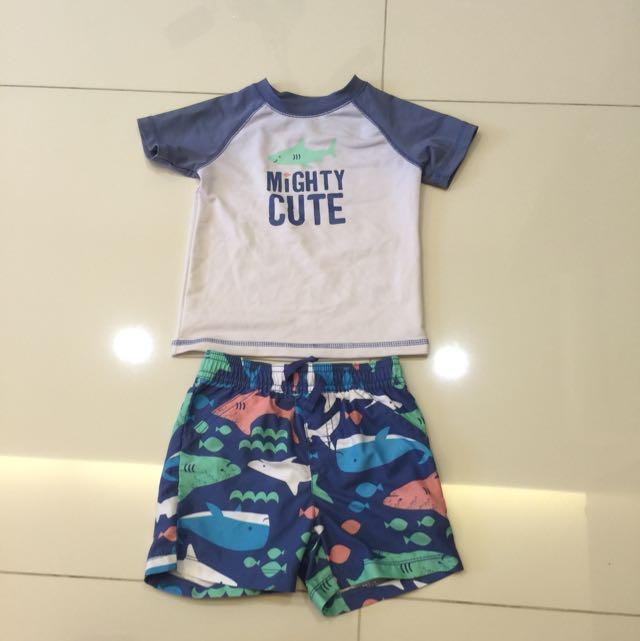 4d0c7a24f4979 Pre-loved Toddler Boy Carters Brand 2 Piece Shark Swim Suit ...