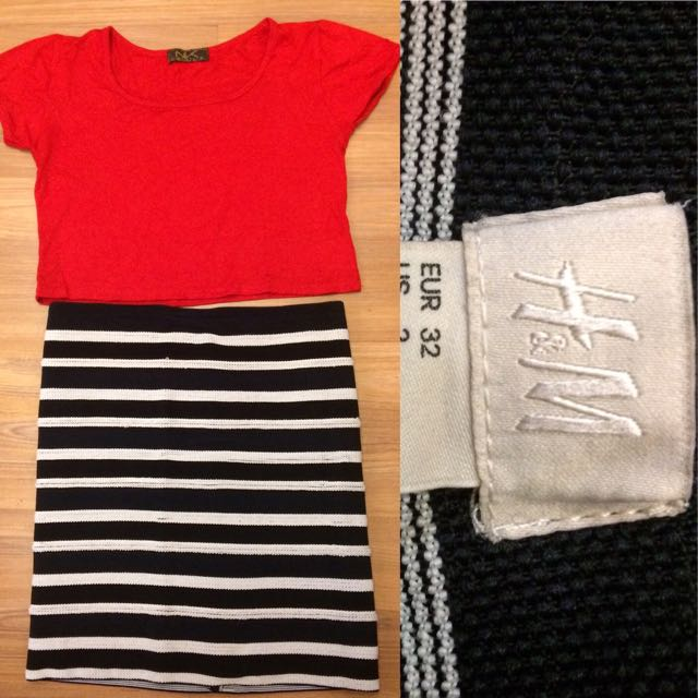 Red Crop Tee & Stripe Bodycon